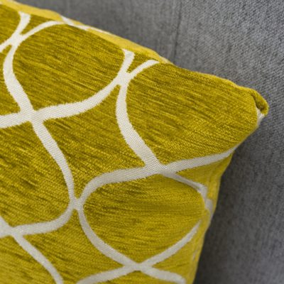 Lattice Chenille Boudoir Cushion in Ochre