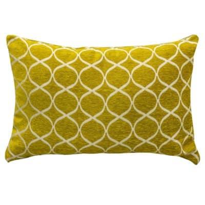Lattice Chenille XL Rectangular Cushion in Ochre