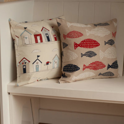 Red and Blue Linen Fish Cushion