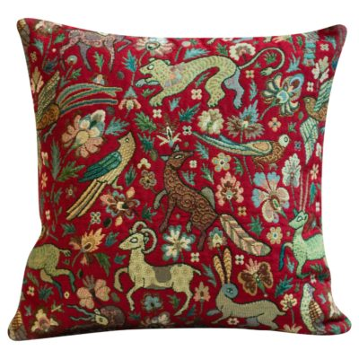 Mythical Animals Cushion in Red