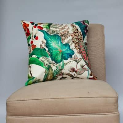 Borneo White Velvet Cushion