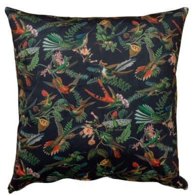 Extra Large Velvet Botanical Hummingbird Cushion