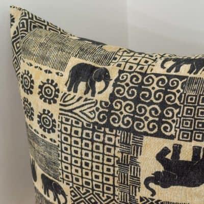 Extra Large Patchwork Linen Elephants Cushion