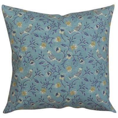 Dainty Songbird Cushion in Denim Blue