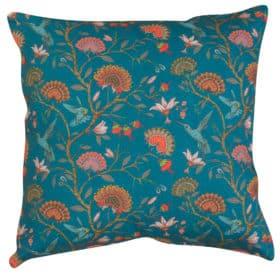 Jacobean Hummingbird Print Cushion in Teal