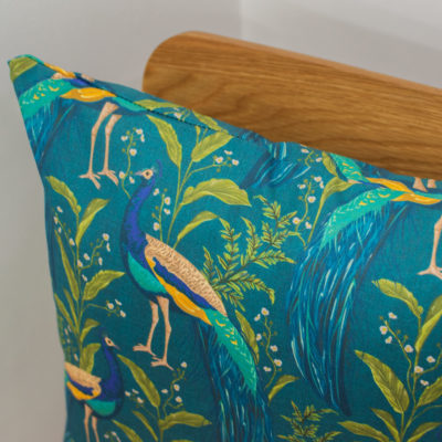 Vibrant Peacock Cushion in Indigo and Teal