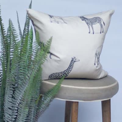 Safari Cushion in Charcoal and Cream