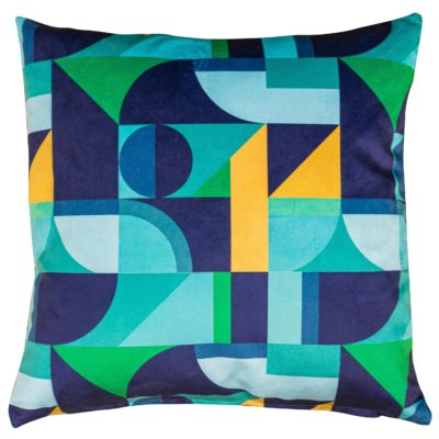 Abstract Picasso Velvet Cushion in Blue and Green