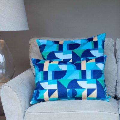 Abstract Picasso Velvet XL Cushion in Blue and Green