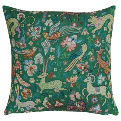 Mythical Animals Cushion in Forest Green