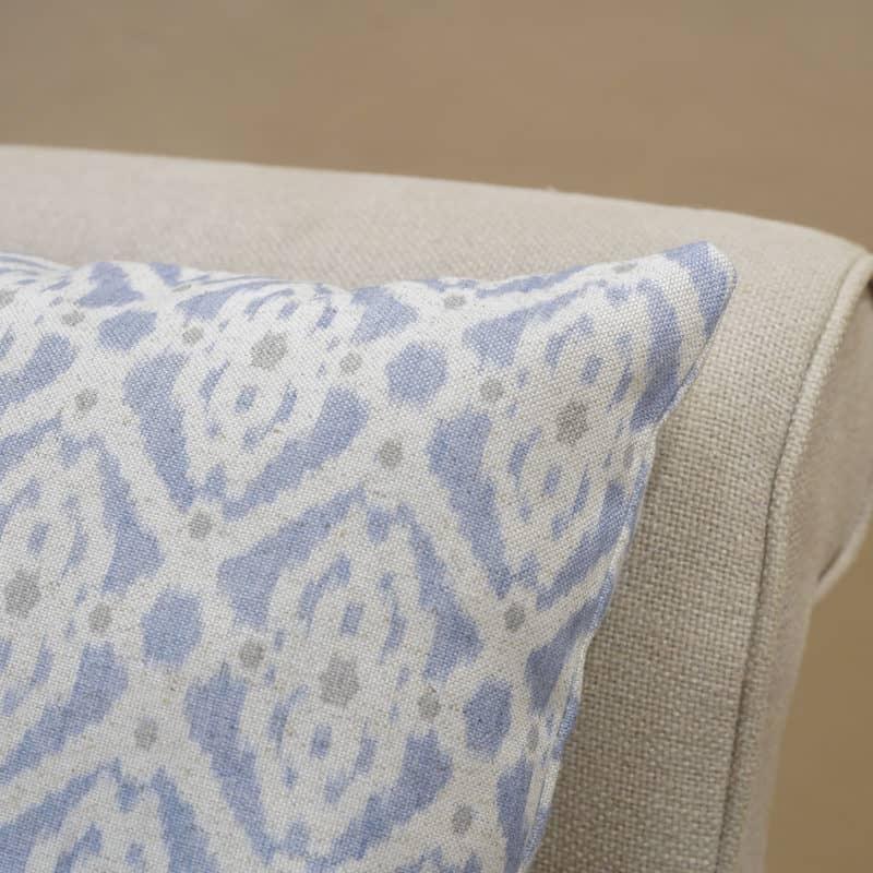 Santorini Linen Blend Cushion in Soft Blue