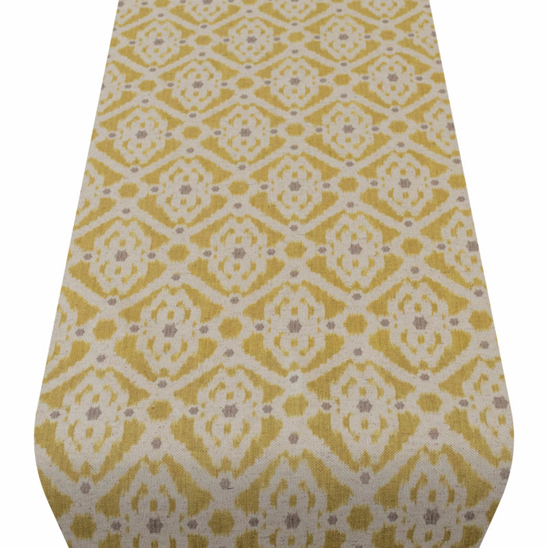 Dots and Diamonds Table Runner in Ochre Yellow