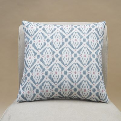Santorini Linen Blend Cushion in Blue and Pink