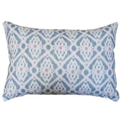 Santorini Linen Blend Boudoir Cushion in Grey and Pink