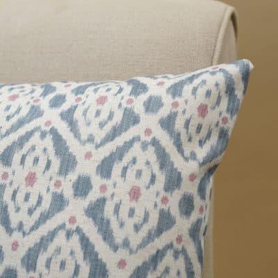 Santorini Linen Blend XL Rectangular Cushion in Blue and Pink