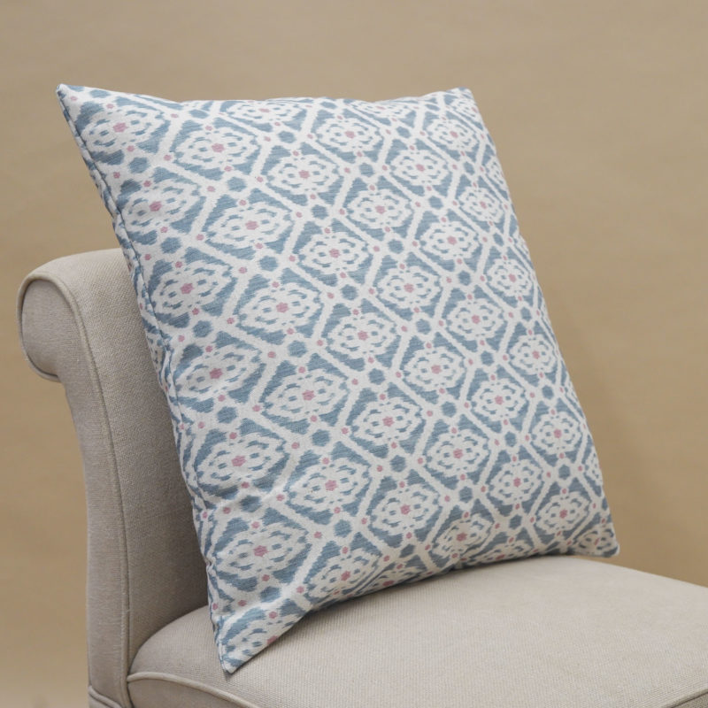 Santorini Linen Blend Extra-Large Cushion in Blue and Pink