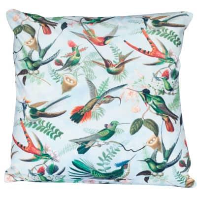Velvet Botanical Hummingbird Cushion in White