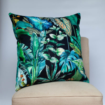 Borneo Black Velvet Extra-Large Cushion