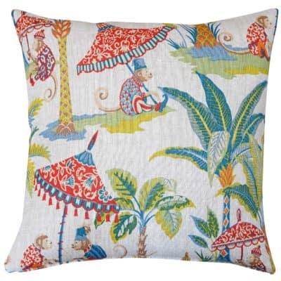 Tropical Monkey Procession Linen Cushion