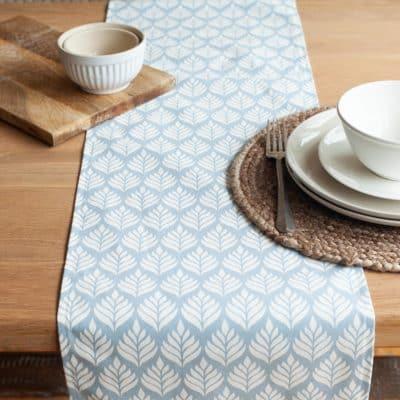 Scandi Leaf Table Runner in Duckegg Blue