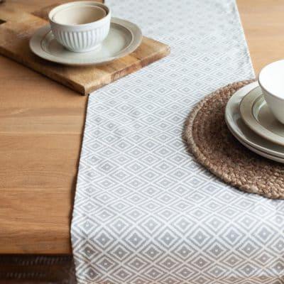 Scandi Ikat Table Runner in Grey