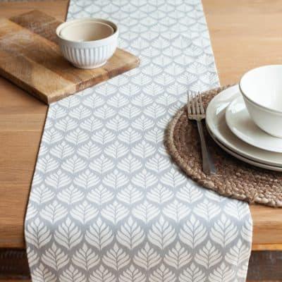 Scandi Leaf Table Runner in Dove Grey