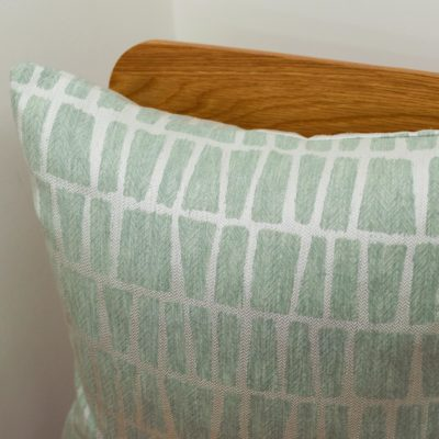 Relaxed Geometric Brickwork Cushion in Mineral Blue