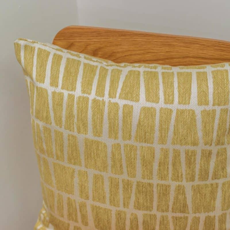 Relaxed Geometric Brickwork Cushion in Ochre Yellow