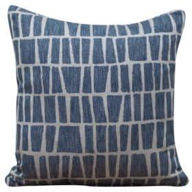 Relaxed Geometric Brickwork Cushion in Indigo Blue
