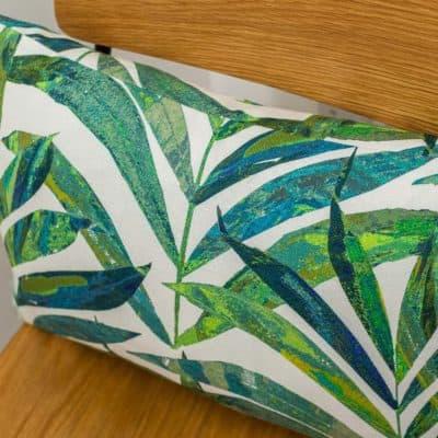 Linen Palm Leaves Boudoir Cushion in Green