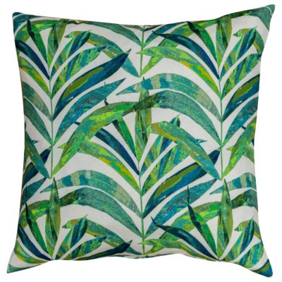 XL Linen Palm Leaves Cushion in Green