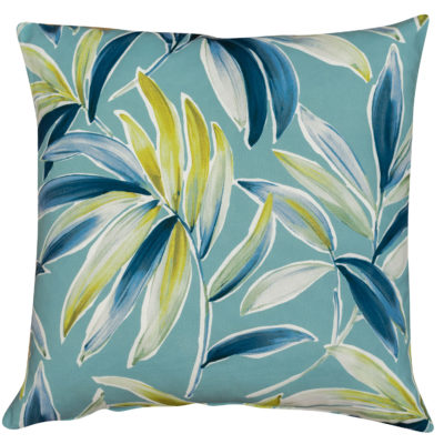 Tropical Banana Leaf Print Cushion in Duck Egg Blue