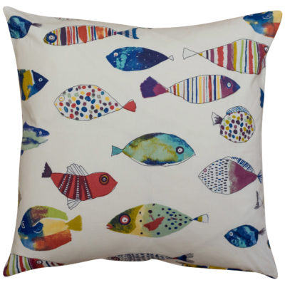 Vintage Style Tropical Fish Cushion in Natural