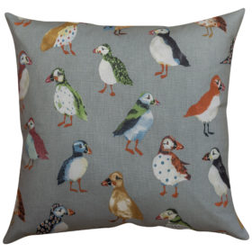 Quirky Multicoloured Puffin Motif Cushion
