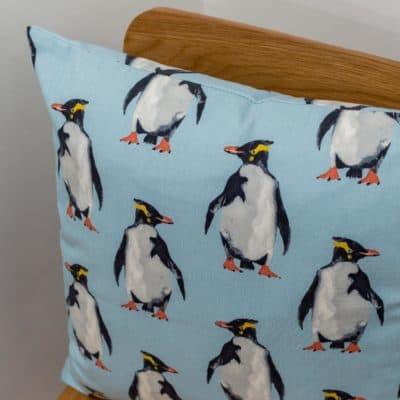 Cute Penguin Motif Cushion in Duck Egg Blue