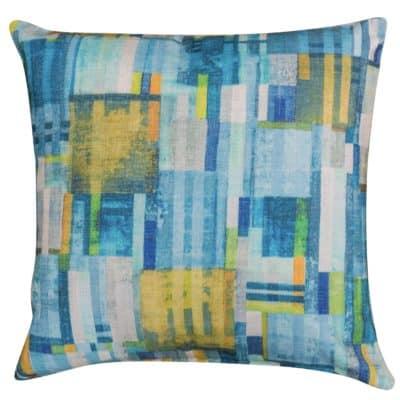 Cubist Chenille Cushion in Lagoon