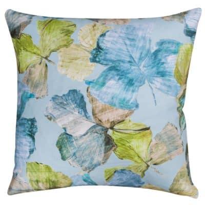 Falling Leaves Cushion in Ocean Blue