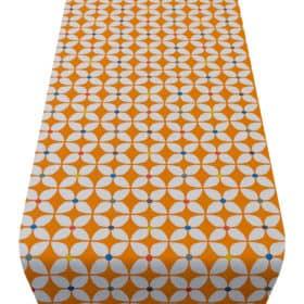 Retro Mini Geometric Dot Table Runner in Bright Orange