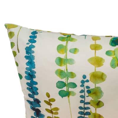Tropical Eucalyptus Print Cushion in Sky Blue
