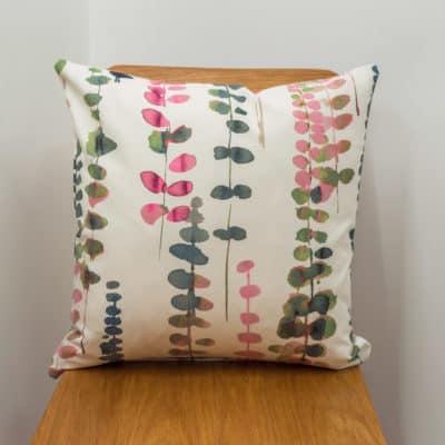 Tropical Eucalyptus Print Cushion in Pink