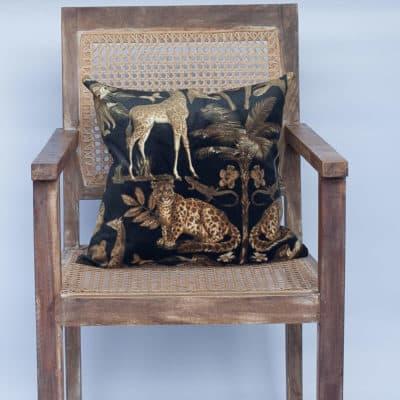Velvet Animal Print Cushion in Black and Gold