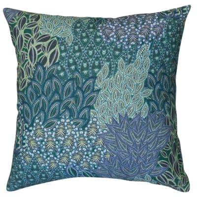 Winter Garden Linen Blend Cushion in Peacock Blue