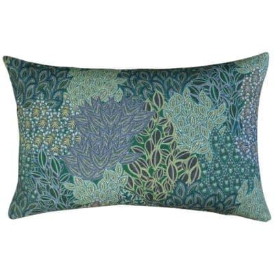 Winter Garden Linen Blend XL Rectangular Cushion in Peacock Blue
