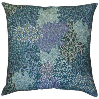 Winter Garden Linen Blend Extra-Large Cushion in Peacock Blue