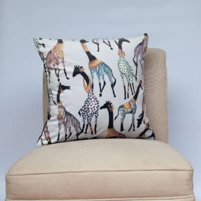 Zawadi Giraffe Velvet Cushion in Mist Grey