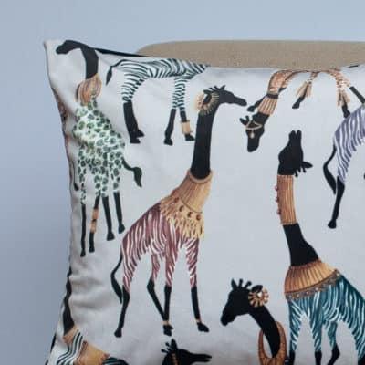 Zawadi Giraffe Velvet XL Rectangular Cushion in Mist Grey