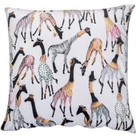 Zawadi Giraffe Velvet Extra-Large Cushion in Mist Grey