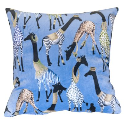 Zawadi Giraffe Velvet Cushion in Powder Blue