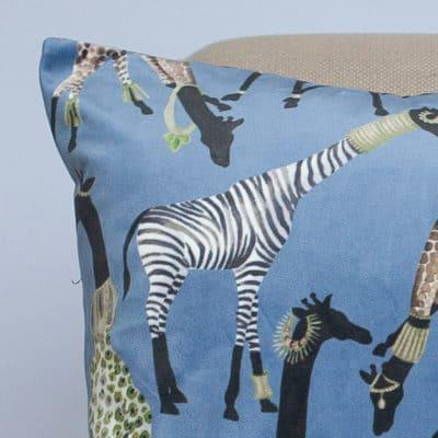 Zawadi Giraffe Velvet XL Rectangular Cushion in Powder Blue