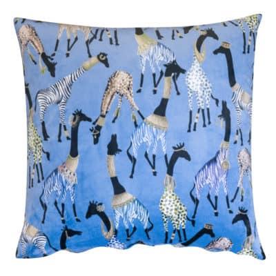 Zawadi Giraffe Velvet Extra-Large Cushion in Powder Blue